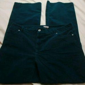 J Jill Bootcut Stretch Teal Corduroy Jeans 16 Tall